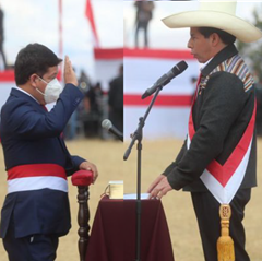 Pedro Castillo vereidigt seinen Premierminister Guido Bellido Foto: Andina